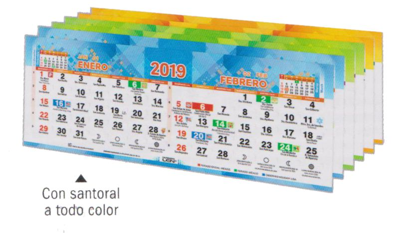 Calendario Santoral 2019.Calendario De Pared Con Santoral Con Realce De 31 X 60 Cm